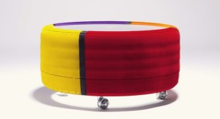 Colorful tire coffee tables by Tavomatico
