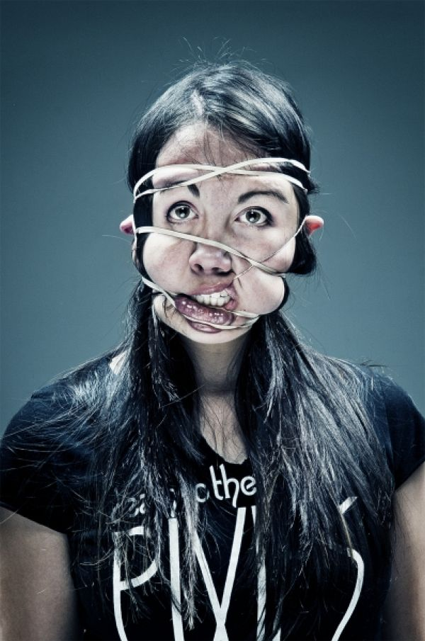 """Funny faces in Wes Naman's """"Rubber Band"""" series"""